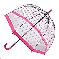 Fulton Birdcage Clear Dome Umbrella with Pink Handle - Pink Polka
