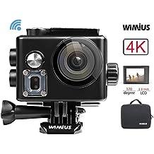 WiMiUS Action Cam, 4k Action Camera WIFI HD 12MP Fotocamera Subacquea Impermeabile Kit Accessori +2 Batterie + Pacchetto Portatile (Nero)