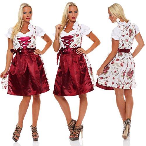 10593 Fashion4Young Dirndl 3 tlg.Trachtenkleid Kleid Mini Bluse Schürze Trachten Oktoberfest Dunkelrot Weiß
