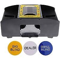 Sharplace Elektrisch Kartenmischer für 2 Decks, batteriebetrieben Kartenmischmaschine für Pokern, mit Poker Button Set