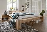 SAM® Massives Balkenbett CARLA, aus Eiche, geölt, geteiltes Kopfteil, 200x200 cm