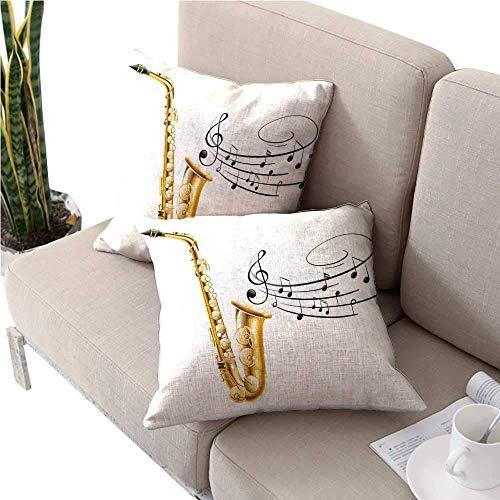 mallcentral-EU Jazz Music Decor KissenbezugIllustration von Fancy Old Saxophone mit Vorlage Solo Vibes Kunstdruck Decoroutdoor Kissenbezüge 2 STK -