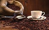 VLIESFOTOTAPETE Fototapete Tapete Wandbild Vlies | Welt-der-Träume| Sack Voller Kaffeebohnen | VEL (152,5cm. x 104cm.) | Photo Wallpaper Mural 291VEL-AW | Kaffe Duft Kaffeebohnen Tasse Braun Kaffeemühle