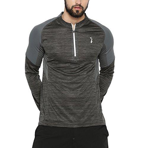 Campus Sutra Men's Sport Jersey T-shirt(AZ18CSJ_JRNZIP_M_PLN_CHGR_AZ_L)