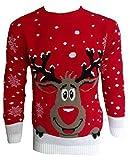 Herren Damen 3D Rudolph Rentier Elfen Weihnachten Neuheit Pullover Stricktop - ROT HOCH RENTIER, M/L