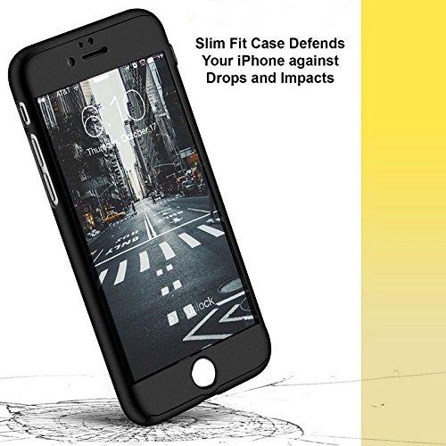 iPhone 7Plus Full Body protettivo morbido TPU lusso finitura opaca sottile antiurto antiscivolo e anti impronte digitali cover anteriore e posteriore + protezione dello schermo in vetro