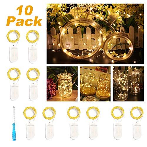 kette mit Batterie, 10 Stück 2 Meter 20er Micro Kupfer Lichterkette IP65 Wasserdicht Warmweiß Dekorative Lichterkette String Beleuchtung Ambiente für Party Garten Hochzeit ()
