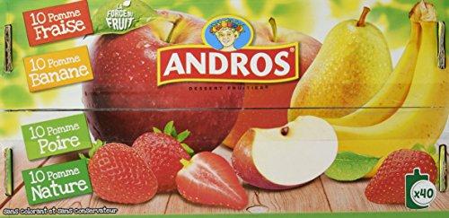 ANDROS Compotes de fruits en gourdes 4 variétés panachées 40x90g
