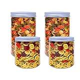 Pack 4 Barattoli di Polietilene Alimentare, 0,95 L (12x10cm) e 1,3 L (18x10cm), Contenitori con Coperchi in Alluminio a Vite. Riciclabile. 100% Senza BPA.