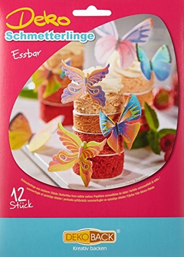 Decocino Essbare Schmetterlinge HOCHWERTIGE Tortendeko von DEKOBACK | essbare Schmetterlinge aus Oblaten | 3er Pack (3 x 4 g) | 12 Motive pro Packung | Schmetterlinge Kuchendeko kaufen -