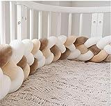 CULASIGN Bettumrandung, 220cm Baby 4 Weben Nestchen Bettumrandung Kantenschutz Kopfschutz Geflochtene Stoßfänger Dekoration für Krippe Kinderbett (Weiß+Khaki+Weiß+Braun)