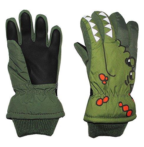 """Fingerhandschuhe mit Schaft / Strick Bündchen - """" Krokodil grün """" - Thermo gefüttert Thermohandschuh - Größe: 2 bis 4 Jahre - wasserdicht + atmungsaktiv Thinsulate - Fingerhandschuh für Kinder - Mädchen Jungen - Thermohandschuhe Handschuhe - Fleece Futter"""