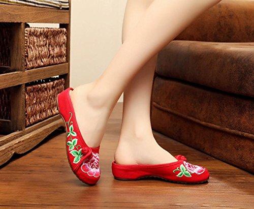 Y&M Gestickte Schuhe Sehnensohle ethnischer Stil weiblicher Flip Flop Mode bequem Sandalen