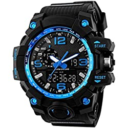 SKMEI Mens Multifunction Digital Sport Watch, Heavy Duty, 165 FT Water resistant - Blue