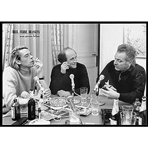 CR. Diffusion PMH04 Brel Ferré et Brassens Tableau photo Noir/Blanc 50 x 70 cm
