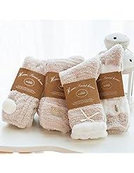 Socks ZY Cuatro pares de calcetines caja de regalo. Hembra calcetines del piso calcetines de invierno de terciopelo de coral calcetines toalla gruesa calcetines calientes para los adultos que duermen , f , coffee