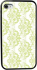 Rikki KnightTM Shabby Chic Green on White Damask Rubber Black iPhone Case (with bumper) Cover for Apple iPhone 4 & 4s