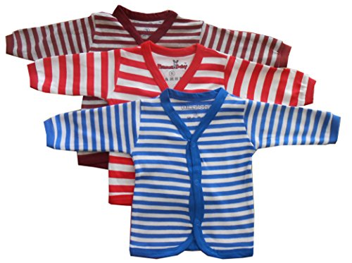 NammaBaby Baby Boy's Cotton Front Open Full Sleeves Vest T-shirt, 3-6 Months(Multicolour)-Pack of 3