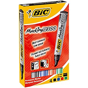 BIC Marking 68954BC 2300 Permanent Marker Chisel Tip - Assorted Colours, Pack of 4