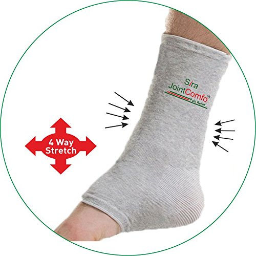 Sira Bamboo Charcoal Ankle Sleeve, Foot, Ankle, Heel Pain Relief Sleeve, Swelling, Gym, Gymnastic & Sports Sleeve, Pain Relief Ankle Socks, Open Toe Socks.