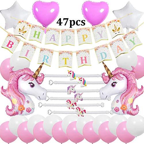 Cebelle Unicorno Decorazioni per feste di compleanno Forniture Rosa, 47 pezzi Party Pack, Happy Birthday Banner, 2 enormi unicorno, 6 bracciali , 2 cuori e 2 palloncini stelle, 20 palloncini