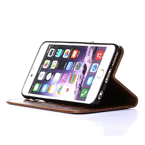 UKDANDANWEI iPhone 6 Plus / 6s Plus Hülle ,Muster Flip Wallet Case,Lanyard Strap Leather Stand Handyhülle Portable Lederhülle Anti-Scratch [ID Card Slot] Magnetverschluss Soft Silikon Cover TascheFoli Hellbraun