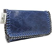 FERETI borsa blu royal a tracolla con catena vera pelle