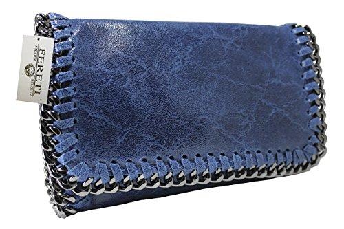 81def91b03 FERETI pochette cuir sac bandoulière bleu pour femme chaîne