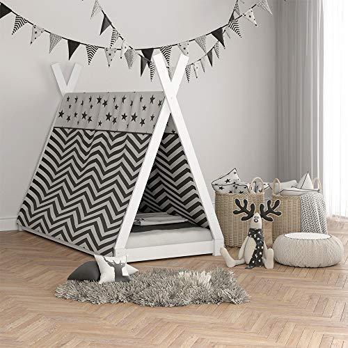 VICCO Kinderbett TIPI Kinderhaus Indianer Zelt Bett Kinder Holz Haus Schlafen Spielbett Hausbett 90×200 (weiß) - 2