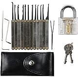 15unidades Lock Pick Set Bundle con transparente Práctica Candados y eBook Instrucción, plateado