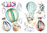 dekodino Wandtattoo Aquarell Heißluftballon Tiere Wanddeko Set