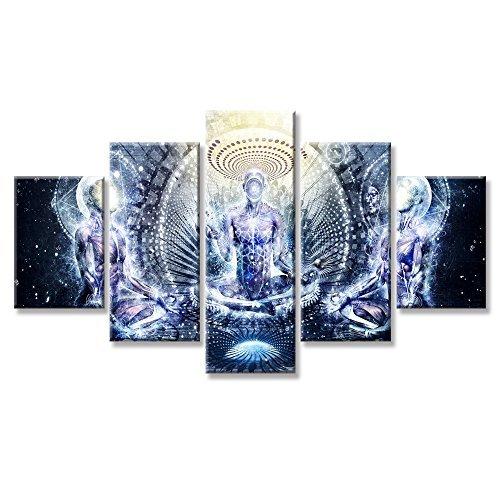 VIIVEI Buddha Psychedelic Trippy Art Wand Leinwand Prints Art Home Decor für Wohnzimmer Bilder 5 Panel groß HD Malerei Gedruckt gerahmt fertig zum Aufhängen