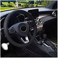 "3pcs set Cool Summer Fall Steering Wheel Cover&Handbrake Cover&Gear Shift Cover Set Faux Wool Uinversal Plush Non-Slip Car Interior Accessories-14.96""(38cm) (Black, 15"")"