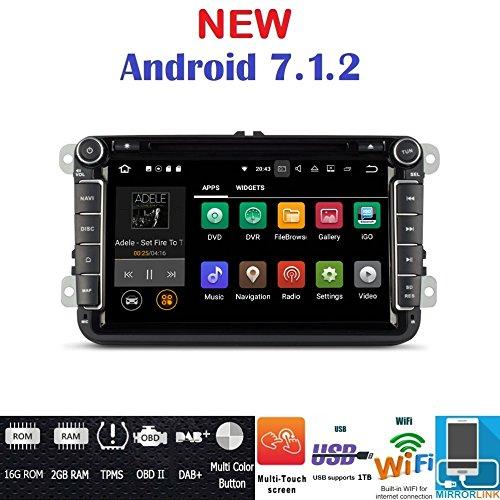 Iuspirit Autoradio navigateur GPS Android 7.1, DVD, USB, SD, Wi-Fi, Bluetooth, 2 DIN