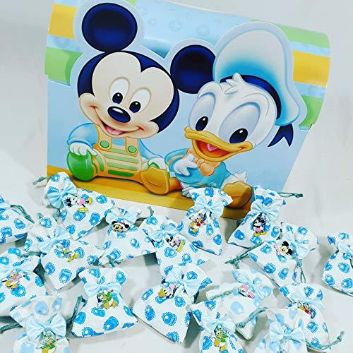 Scatoline portaconfetti bomboniere disney topolino e paperino bimbo battesimo nascita - 1 baule + 25 sacchettini con confetti azzurri alla mandorla