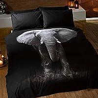 Just Contempo - Copripiumino con stampa, effetto 3D, motivo elefante fotografato, colore: Grigio/Nero, Policotone, grigio nero, Singolo