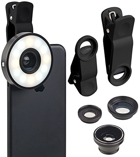 Somikon Handy Linse: 4in1-Vorsatz-Linsen-Set mit Weitwinkel, Makro, Fischauge und LED-Ring (Selfie Licht)