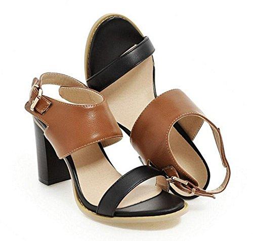 GLTER Frauen-Pumpen-Wölbung mit offen-toed-förmigen Dame Sandals High Heels Court Schuhe Brown