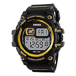 Skmei Digital Display Sports watch 3ATM waterproof Stainless Steel Back -1229 Gold