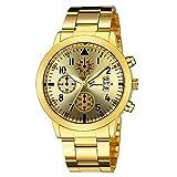 Yesmile ❤️ Reloj de negocios de lujo hombres principales Lujo Cuarzo Deporte Militar Esfera de metal inoxidable Banda de cuero Reloj de pulsera
