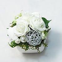 Kleines Weißes Tischgesteck mit weißen Röschen-Tischdeko,Gesteck mit künstlichen Blumen