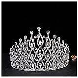 herzii Damen Luxus-Kristall-Tiara glänzende Strass-Krone für Festzug / Hochzeit, toller Brautschmuck, für Partys / Bälle, Kronenhöhe 10,9cm