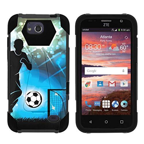 TurtleArmor Schutzhülle für ZTE Majesty Pro Plus (dynamisches Shell) Dual Hybrid Hard Impact Silikon Cover Kickstand Sport und Spiele Design -, Soccer Player Graphic