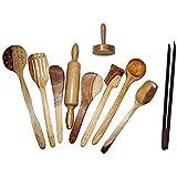 Worthy Shoppee Wooden Spoon Cuchara Set Of 10 Pcs/Wooden Spatula, Ladle & Kitchen Tools Set