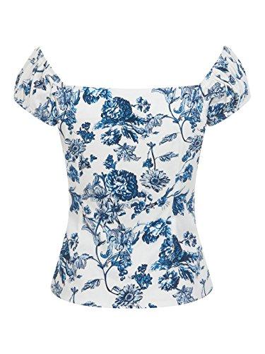 Collectif DOLORES Toile Floral 50s Gypsy Vintage Bluse SHIRT Rockabilly -