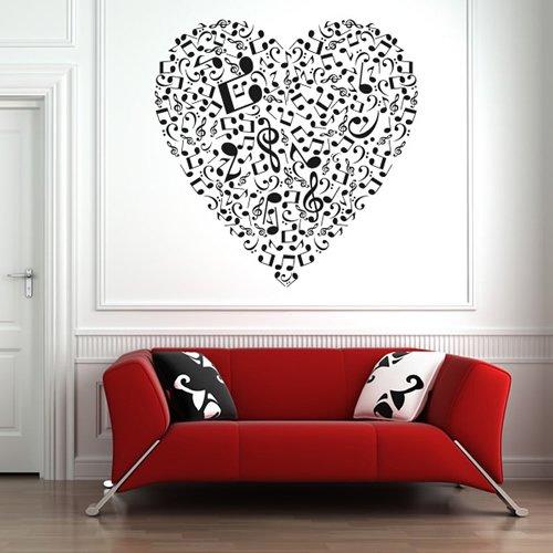 Musical-Note-Love-Heart-Wandaufkleber-Wandtattoo-Musik-Kunst-verfgbar-in-5-Gren-und-25-Farben-Mittel-Fuchsie-Pink