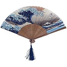 Abanico de mano - TOOGOO(R)de punta de bambu plegable oscuro modelo azul y onda de blanco