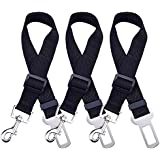 Mudder Dog Seat Belt Pet Car Safety Straps Leads Restraint Harness Adjustable for Cars Vehicle, Black, 3 Pack