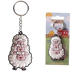 Porte-clés Moutons Rigolos 3 têtes de moutons en PVC