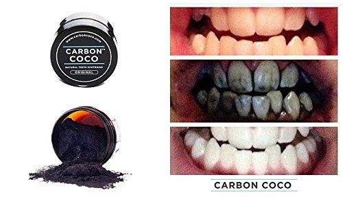 Carbon Coco Aktivkohle Zahnpolitur , Zahnaufheller für natürlich weiße Zähne Zahn Bleaching, frischer Atem, helle Zähne natürliche Zahnaufhellung, aktiv Kohle, von CARBON COCO